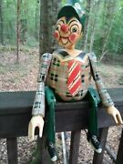 Large Antique Wooden Handmade Pinnochio Sitting 14 Tall, Overall 22