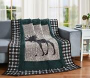 Moose Plaid Quilt Throw Blanket Lodge Cabin Mountain Style Bedding