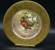 Charles Martin Limoges Hand Painted Enameled Gold Encrusted Game Bird Plate A