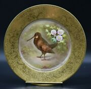 Charles Martin Limoges Hand Painted Enameled Gold Encrusted Game Bird Plate B