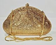 Large Gold Crystallized Evening Bag Purse Clutch Luxury With Crystals