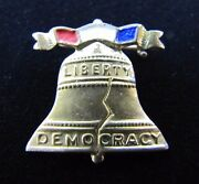 Antique Liberty Bell Pin Pinback Liberty Democracy Red White Blue Ornate