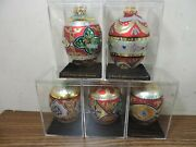 5 Department 56 Decorated Glass Egg Christmas Ornaments 4.5