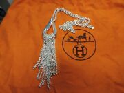Hermes 30 Link Chain Necklace W/ Cascading Chain Slide Ag925 Sterling Silver