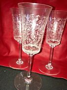 Baccarat Crystal Leillah Jasmina Set Of 3 Tall Water Goblets Etched Birds, Vines