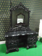 Gothic Black Rococo Dressing Table Mirror And Stool Hand Carved From Mahogany