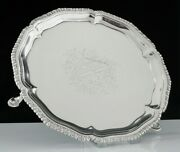 Antique Sterling Silver Card Tray Amorial Crest Thomas Hannam And John Carter 1766