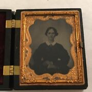 Antique Ambrotype Photograph Of A Young Woman With Cross Gutta Percha Union Case