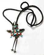 Sterling Silver Knifewing Kachina Zuni Inlay Bolo Tie 2-1/2 X 2-3/4 Signed Em