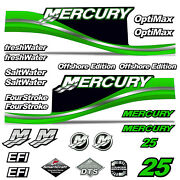 Mercury 25 Four 4 Stroke Decal Kit Outboard Engine Graphics Motor Stickers Green