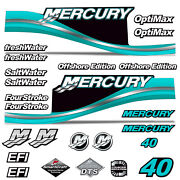 Mercury 40 Four 4 Stroke Decal Kit Outboard Engine Graphic Motor Stickers Teal