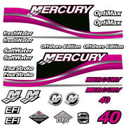 Mercury 40 Four 4 Stroke Decal Kit Outboard Engine Graphic Motor Stickers Pink