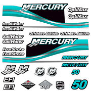 Mercury 50 Four 4 Stroke Decal Kit Outboard Engine Graphic Motor Stickers Teal