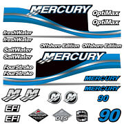 Mercury 90 Four 4 Stroke Decal Kit Outboard Engine Graphic Motor Stickers Blue