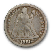 1880 10c Seated Liberty Dime Fine F Key Date Low Mintage R191
