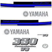 Yamaha 350 Four Stroke Die Cut Decals Outboard Engine Graphics Motor 350hp Blue