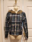 Nwt 79 L.a. Kitty Plaid Faux Sherling Lining Zip Front Jacket Junior Medium 7-9