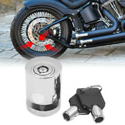 Silver Tone Cylindrical Shape Security Brake Disc Lock W 2 Key For Motorcycle