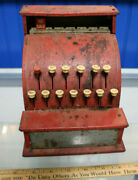 Vintage Play Cash Register Metal Tin Toy - Bell Rings And Drawer Pops Open Jsh