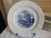 Mill Of Wolves Set Of Eleven Plates Talking Model Delft 1896/1952