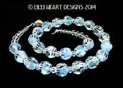 M/w Crystal Vintage Rare Givre Blue Beads Necklace Lilli Heart Designs