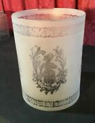 Vintage Antique Victorian Acid Etched Glass Cylinder Lamp Shade With Figures