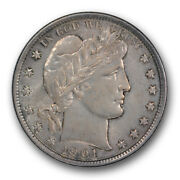 1901 50c Barber Half Dollar Uncirculated Mint State Toned R370