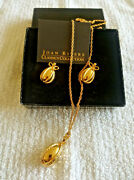Nos Vintage Joan Rivers Gold Tone Russian Egg Necklace And Earrings Set In Box