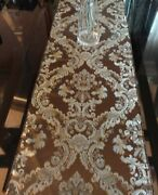 Luxury Damask 13 Color Chocolate/bluetable Runner Made In Usa