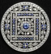 9.30cts Rose Cut Diamond Sapphire Antique Victorian Look 925 Silver Brooch