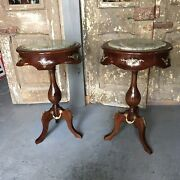 Pair Antique French Style Mahogany End Tables W/ Bronze Accents And Green Marble