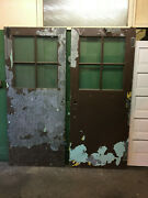 Pair Of Heavy Industrial Shop Doors Steel Chicken Wire Glass Salvaged Tall