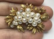 Vintage Kn 18k Yellow Gold Natural Pearl And Diamond Pin Brooch Leaf Flower 20g
