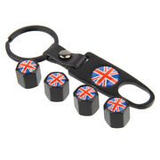 Wheel Tire Valve Air Dust Caps Cover Uk National Flag Universal Color Keychain