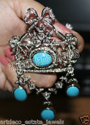 3.11ct Rose Cut Diamond Turquoise Antique Victorian Look 925 Silver Broach Pin