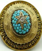 Fantastic Large 15 Carat Gold Diamond And Turquoise Ornate Double Locket Brooch