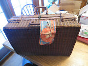 Wicker Picnic Basket Sutcase Cunard White Star Queen Mary First Cl Baggage Tag