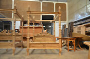 First Time In Uk Small Double Teak Wood French Queen Anne Style Four Poster Bed