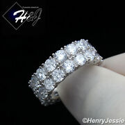 Men Women 925 Sterling Silver Icy Diamond 8mm Icy 2 Row Tennis Band Ringsr131