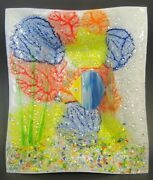 Glass Nautical Fish Plate With Glass Frit Multi-color 10 To 11 Inch Length