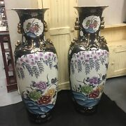 """Pair Large 48"""" Matching Chinese Vases Floral Birds Blue Oriental Asian Gold"""