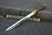 Rare Boutique Chinese Short Sword Tanto Full Copper Clay Tempered Folded Steel