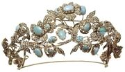 19.55cts Rose Cut Diamond Turquoise Antique Victorian Look 925 Silver Hair Tiara