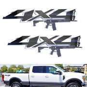2pcs 12 Black 4x4 Letters W/ Ar15 M4 M16 Rifle Decals For Truck Suv Bedside
