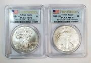 2 2011-s Silver Eagles Pcgs Ms70 First Strike Flag Label