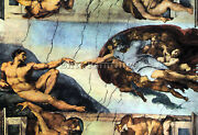 Creation Of Adam By Michelangelo Artist Painting Oil Canvas Repro Wall Art Deco