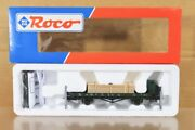 Roco 47384 Kbay Green Rungenwagen Flat Wagon 76201 And Timber Load Mint Boxed Nt