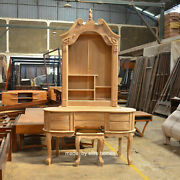 Teak Wood Queen Anne Style Dressing Table With Mirror And Stool