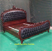 6and039 Super King Size Dark Mahogany Designer Bed With Chesterfield Style Upholstery