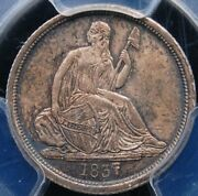 1837 No Stars Lg Date Seated Dime Pcgs Ms 64 Lustrous Well Struck And Original